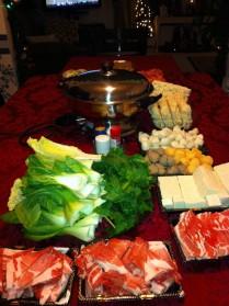 meat, tofu, veggies, fishballs