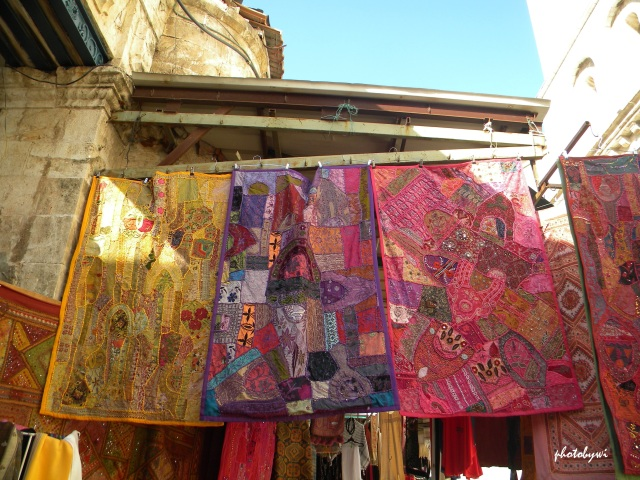 pink tapestry sold in the old city in jerusalem