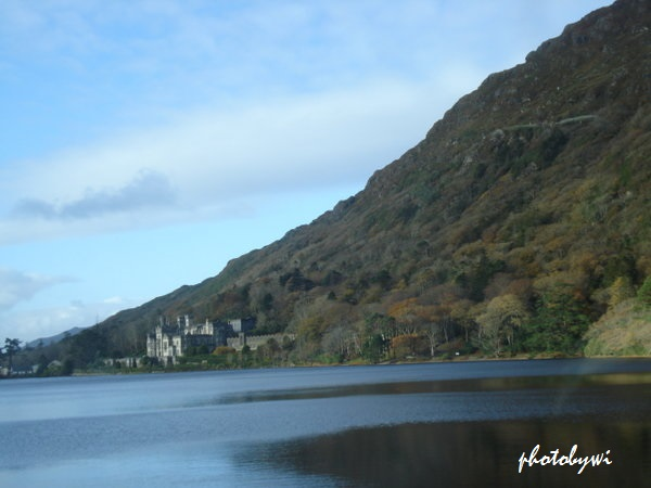 kylemore abbey from afar. connemara, ireland