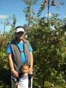 lolo and tj ready to pick gala apples