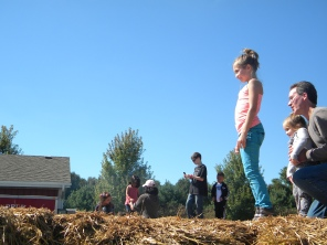 a fortress of hay bale pile with secret passages and walls to climb. i exhauested my energy here. lol