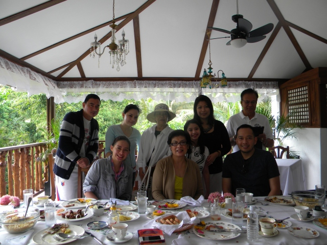 ms. sonya (wearing a hat) said hello during breakfast