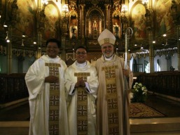 the new father albert with bishop kicanas and fr ricky