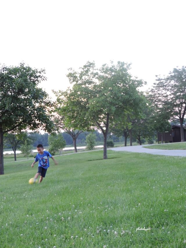 playing kickball at mallard