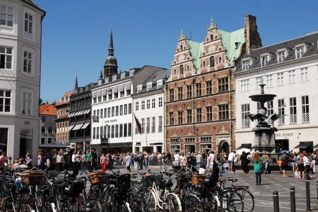 Streets of Copenhagen, Denmark, Northern Europe.